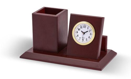 ساعت و جاقلمی طلایی چوبی